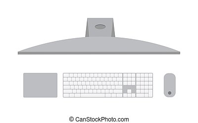Computer pc, top view of a MacBook with an apple