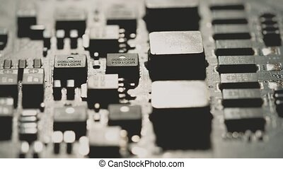 Computer PCB or printed circuit board macro. Shot or Red camera