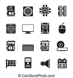 Computer performance icons - Silhouette Computer performance...