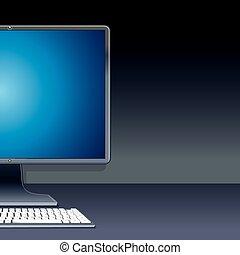 computer, persoonlijk, illustratie, desktop, vector, pc.