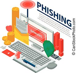 Computer phishing concept background, isometric style