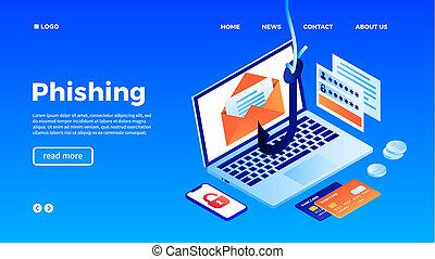 Computer phishing concept background, isometric style