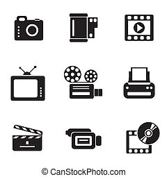 computer photo-video icons - set vector computer icons of ...