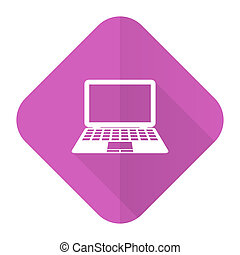 computer pink flat icon pc sign
