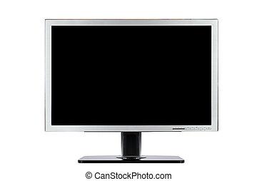 computer, plat, wijde scherm