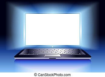 computer portatile, con, luce