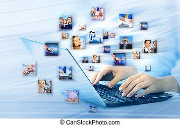 computer portatile, keyboard., mani