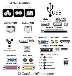 computer ports, vector