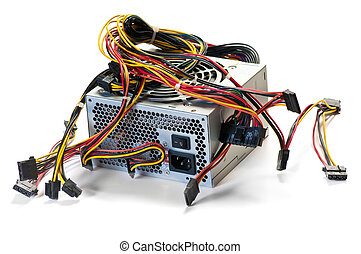computer power supply isolated over white