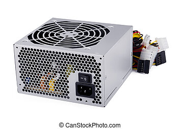 Computer power supply unit isolated on white