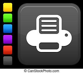 computer printer icon on square internet button