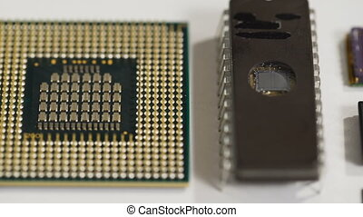 computer processor and electronic components on white background