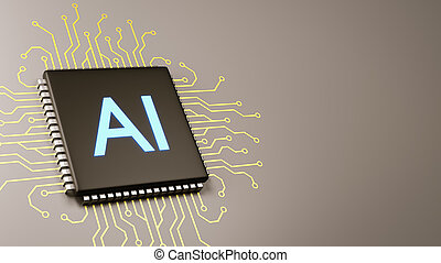 Computer Processor with AI Text with Copyspace 3D Illustration, Artificial Intelligence Concept