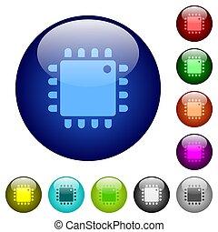 Computer processor color glass buttons
