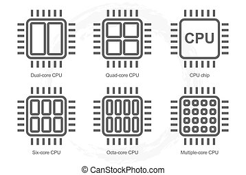 Computer Processor Icon Set