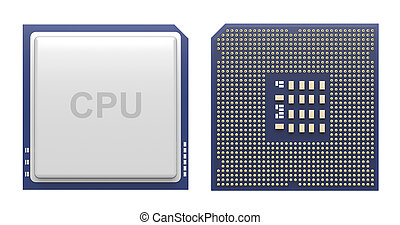 Front and back view of computer processor isolated on white