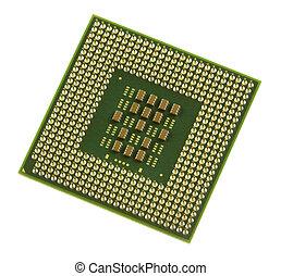 Computer Processor - a green and gold computer processor...