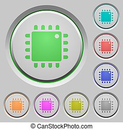 Computer processor push buttons