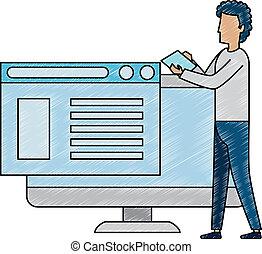 computer, programmed, giovane, lavorativo, uomo