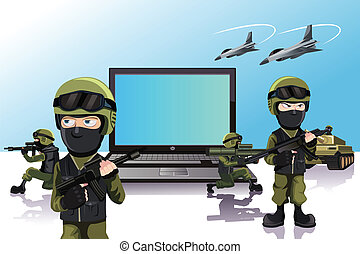 Computer protection - A vector illustration of an army of...