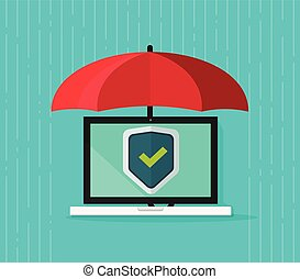 Computer protection concept vector, flat cartoon laptop pc under umbrella and protecting shield on screen, antivirus banner, information safety, digital data privacy, malware security