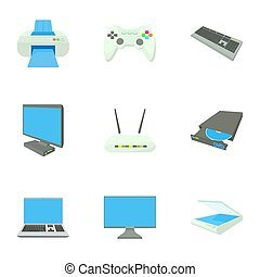 Computer protection icons set, cartoon style