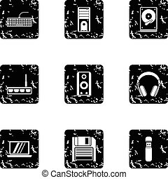 Computer protection icons set, grunge style