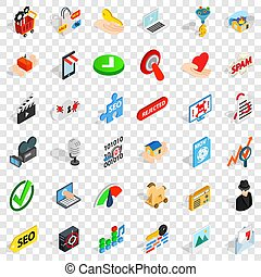 Computer protection icons set, isometric style