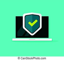 Computer protection vector icon isolated, flat cartoon laptop protected with shield symbol, idea of pc security, firewall technology, privacy safety illustration clipart