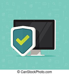Computer protection vector icon isolated, flat desktop pc protected with shield symbol, computer security, firewall technology, internet privacy safety or antivirus, secure private network