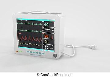 EKG Heart Rate Monitor - Computer rendered illustration one...