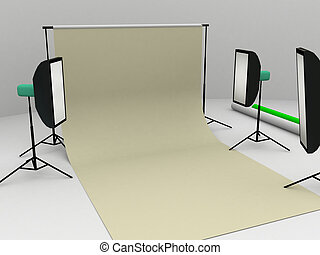 photo studio - computer rendered image of a photo studio