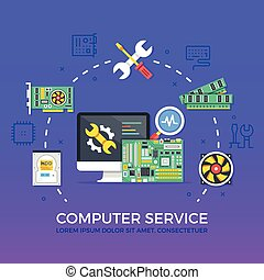 Computer repair, computer service. Flat design graphic elements, signs, line icons set. Premium quality. Modern concepts for web banners, websites, infographics, printed materials. Vector illustration