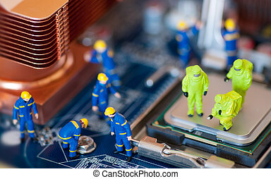 Computer repair concept - Group of construction workers...