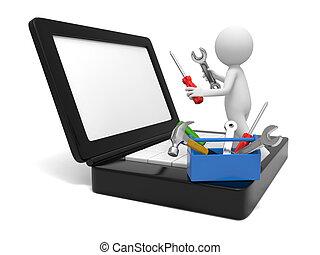 Computer repair - A 3d man repairing a computer with tools