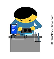 Computer repair. Guy is repairing PC. mending and assembly of electronic brain. Vector illustration