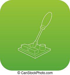 Computer repair icon green vector