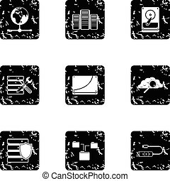 Computer repair icons set, grunge style