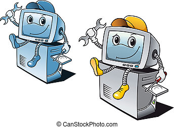 Computer repair service - Computer in cartoon style for...