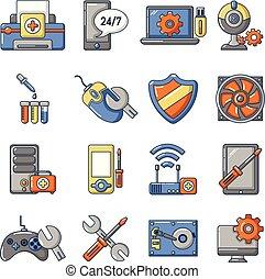 Computer repair service icons set, cartoon style