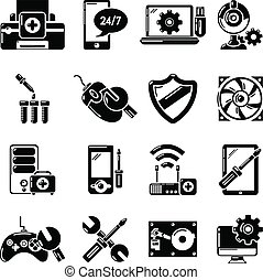Computer repair service icons set, simple style