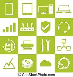 Computer repair service icons set
