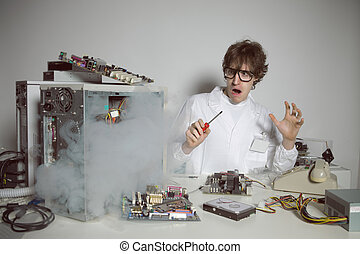 Computer Repair - Computer technician is trying to repair a...