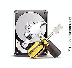 Computer repairing service concept