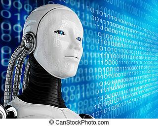 computer, robot, achtergrond