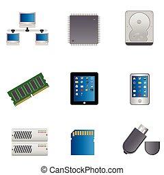 computer, sæt, dele, ikon