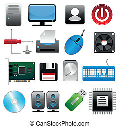 computer, sæt, ikon