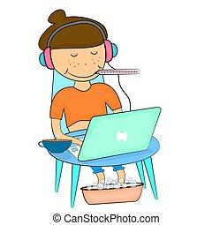computer., séance, travailleur indépendant