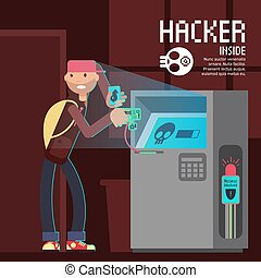 Computer safety and computer crime vector concept with cartoon hacker character