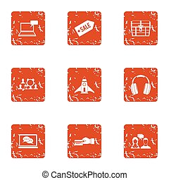 Computer sale icons set, grunge style